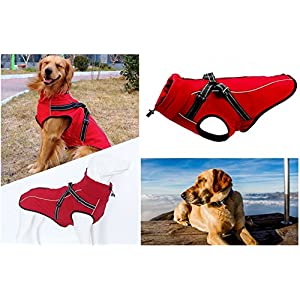Dog Harness Coats Technical Jacket Sport Parka Outdoor Vest,Waterproof Windproof Fleece Lined Dog Coat with Reflective Stripes,Harness Integrated Coat for Large Dogs by U Only You (X-Large, Red)