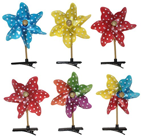 Lucore 4 Inch Mini Pinwheel Spinner Hair Pins - 6 pcs Set of Fast Wind Spinning Wheel Hairpins & Hair Clip Toy Decorations (Polka -