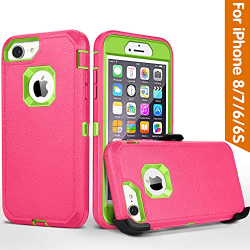 iPhone 8 case,iPhone 7 Case, iPhone 6s Case, FOGEEK Belt-Clip Protective Heavy Duty Kickstand Cover [Shockproof] Cover Compatible for iPhone 8/7/6/6s (NOT Plus) (Rose and Green)