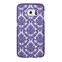 Samsung Galaxy S6 Edge Plus Case -Lookatool Samsung Galaxy S6 Edge Plus Carved Damask Vintage Hard Case Cover Skin Light Weight Shockproof-All Around Protection Hard Case for Samsung Galaxy S6 Edge Plus (Purple)