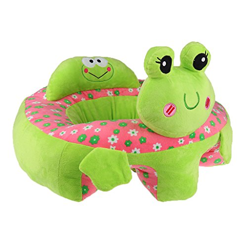 MonkeyJack Colorful Baby Support Seat Learn Sit Soft Chair Cushion Sofa Plush Toys - Green Frog