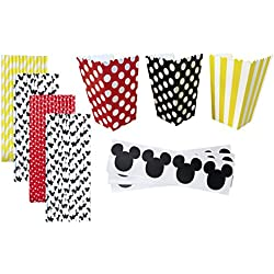 Mickey Mouse Theme Party Kit - 36 Popcorn Treat Boxes - 36 Mickey Mouse Vinyl Chalkboard Labels - 100 Paper Straws - Black, White, Red, Yellow