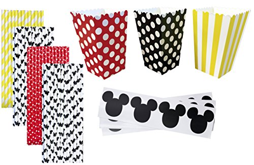 Mickey Mouse Theme Party Kit - 36 Popcorn Treat Boxes - 36 Mickey Mouse Vinyl Chalkboard Labels - 100 Paper Straws - Black, White, Red, (Minnie Themed Party)