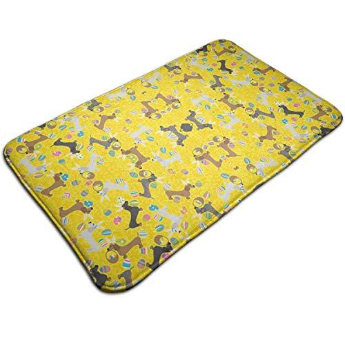 (Bizwheo Easter Dachshund (Yellow) Waterproof Welcome Doormat Funny Durable Machine Indoor and Outdoor Door Mat 19.2x31.5)