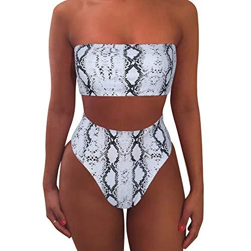 - MOOSLOVER Women's Bandeau Bikini Leopard Print High Cut Strapless High Waist Bathing Suit(XL,Gray)