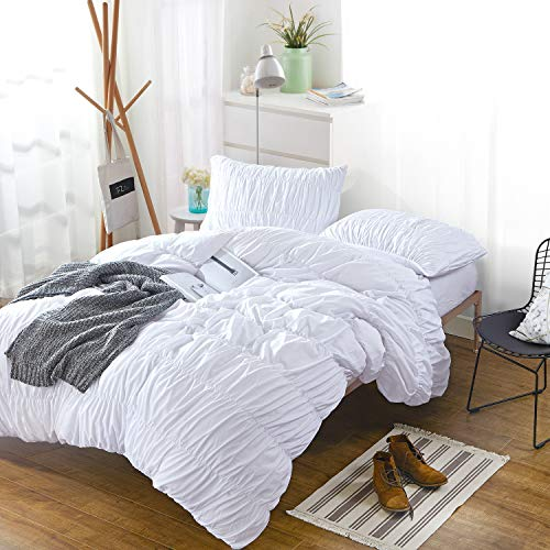 (Cozyholy Duvet Cover Luxury Soft Silky Ruffle Embroidered Grey Bedding Linens Breathable Polyester Wrinkle-Free Fade Resistant Cover Collection, 3-Pieces (White Ruched, King))