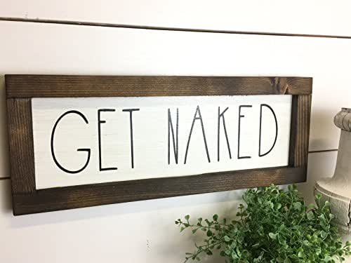Amazon.com: Rustic Bathroom Get Naked Sign
