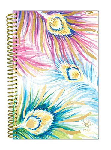 "bloom daily planners 2018 Calendar Year Daily Planner (January 2018 to December 2018) - Weekly & Monthly Agenda - Passion/Goal Organizer - 6"" x 8.25"" - Peacock Feathers - Calendar Day Planner"