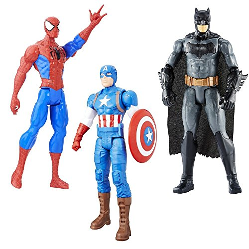 Ben Reilly Spider Man Costumes (3LOT Bundle Marvel Captain America, True-Moves Batman and Spider-Man Titan Hero Figure 12