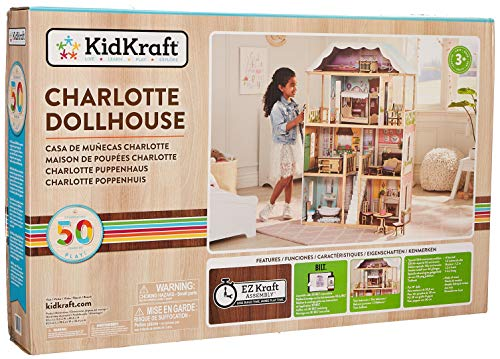 (KidKraft 65956 Charlotte Dollhouse with Ez Kraft Assembly Dollhouses, Multicolor)