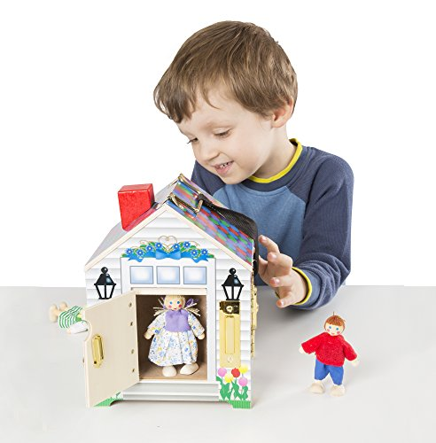 Melissa & Doug Take-Along Wooden Doorbell Dollhouse - Doorbell Sounds, Keys, 4 Poseable Wooden - House City Girl Playhouse Cottage