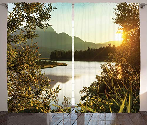 Ambesonne Nature Decor Curtains, Sunset Scene on Lake Idyllic Relaxing Village Serene Outdoor Dask Landscape, Living Room Bedroom Window Drapes 2 Panel Set, 108W X 84L Inches, Green Yellow
