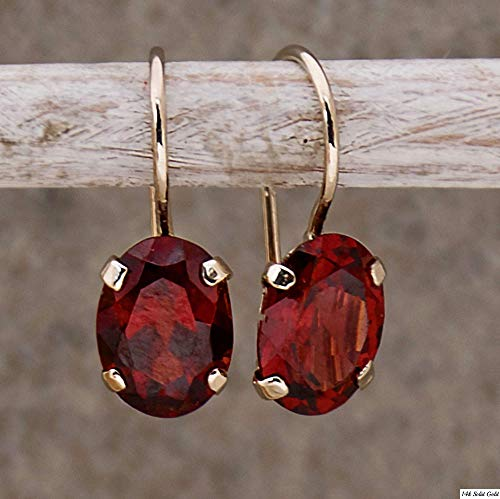 Dainty Garnet Earrings - 14K Solid Yellow Gold Dangle Drop Earrings, Elliptic Oval January Birthstone, Simple Minimalist 6x8mm Dark Red Genuine Garnet, Natural Real Gemstone Handmade Gift for Women