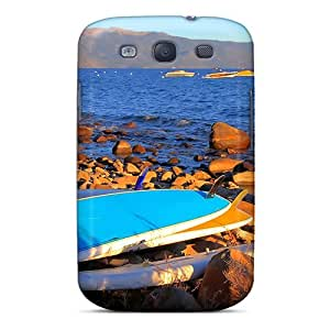 Defender Case For Galaxy S3, Surfboards On A Rocky Shore Pattern