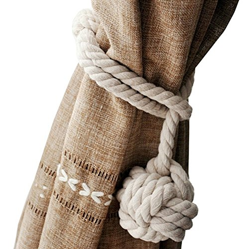 Monkey Drapery Fabric - Loghot Hand Knitting Curtain Rope Cord Rural Cotton Tie Backs with Single Ball (Beige)