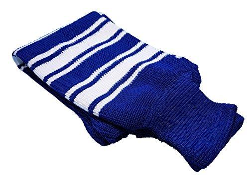 "Hockey Socks Knit Made in Canada for Hockey Players (Tyke 20"", 2 Blue w/White)"