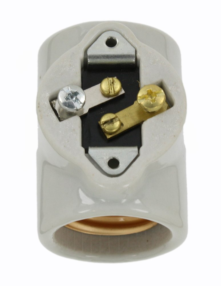 Leviton 4010 Medium Base, 1 Piece, Keyless, Incandescent, Glazed Porcelain Lampholder, Side Outlet Twin, White