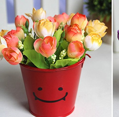 The Best U Want 1 Pcs Idyllic small potted plants decorations artificial flowers,applicable to the dresser,coffee table dining table shelves desk bedside cabinets barrels high 7.2cm,catchy diameter 8.5cm