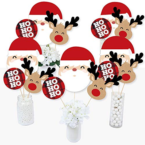 Jolly Santa Claus - Christmas Party Centerpiece Sticks - Table Toppers - Set of 15]()