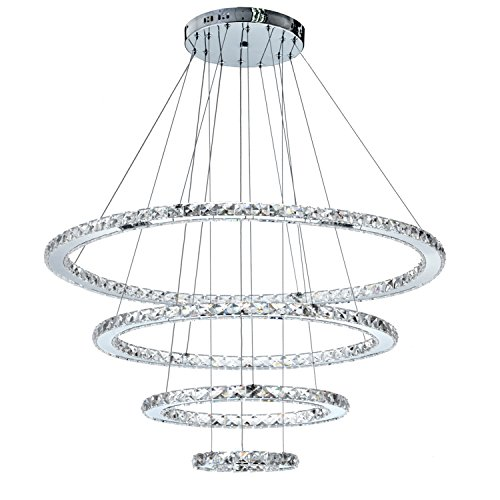 MEEROSEE MD8825-8642MNCW Crystal Modern LED Ceiling Fixtures Pendant Lighting Dining Room Contemporary Adjustable Stainless Steel Cable 4 Rings Chandelier Cool White