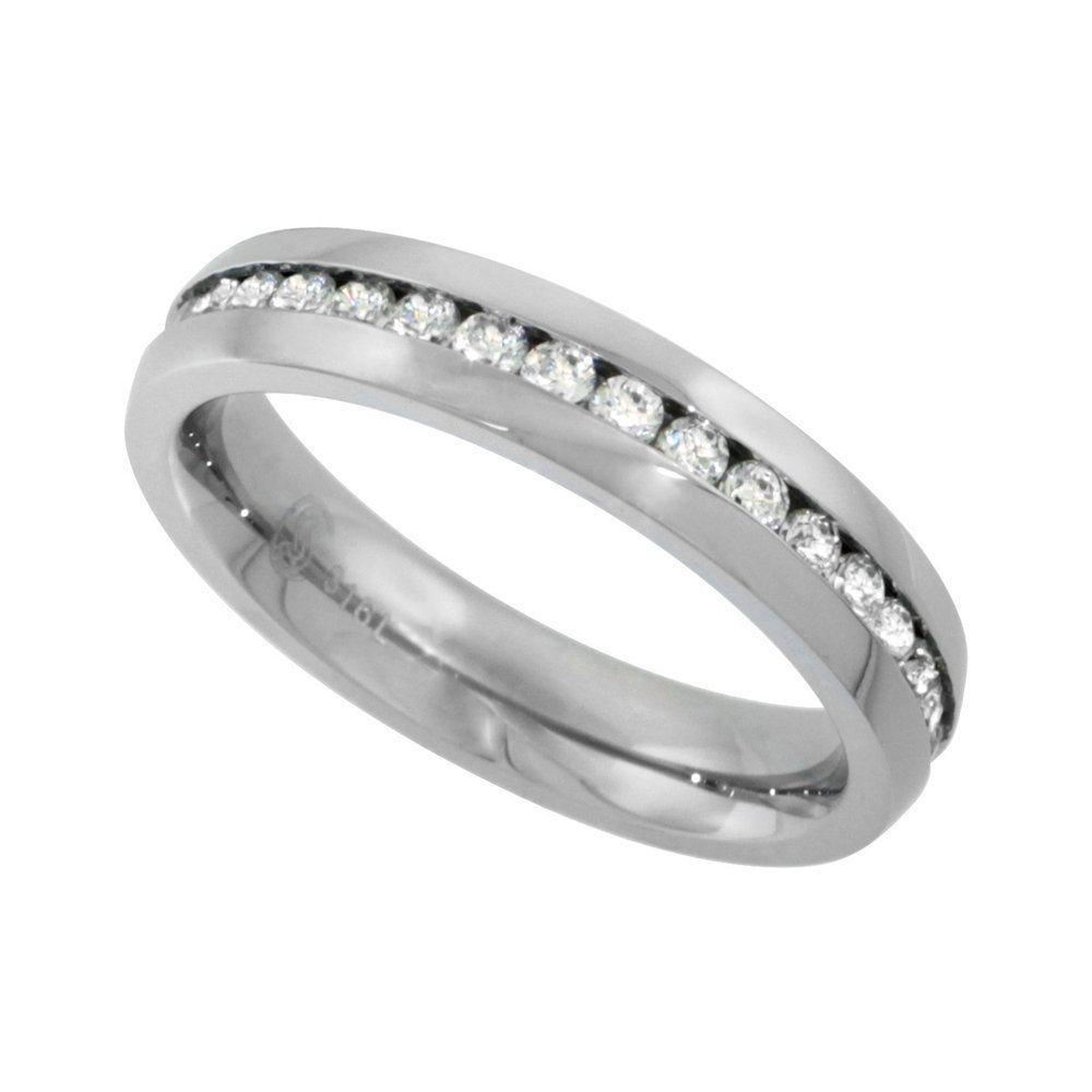 Stainless Steel Thin Ladies Eternity Wedding Band CZ Ring 4mm Comfort fit Size 7