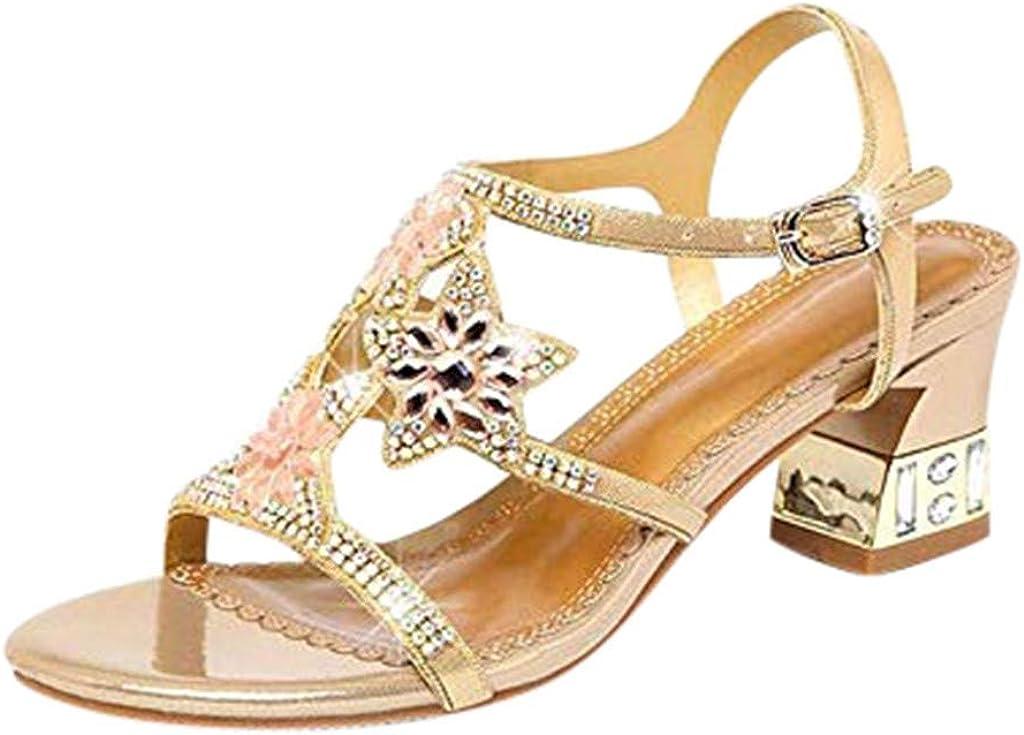 YWLINK Sandalias De Mujer Verano Zapatos De Playa con Flores De Diamantes De ImitacióN Bohemios Antideslizante Zapatos Romanos De TacóN Grueso Zapatos Casuales De Talla Grande Zapatos De Baile