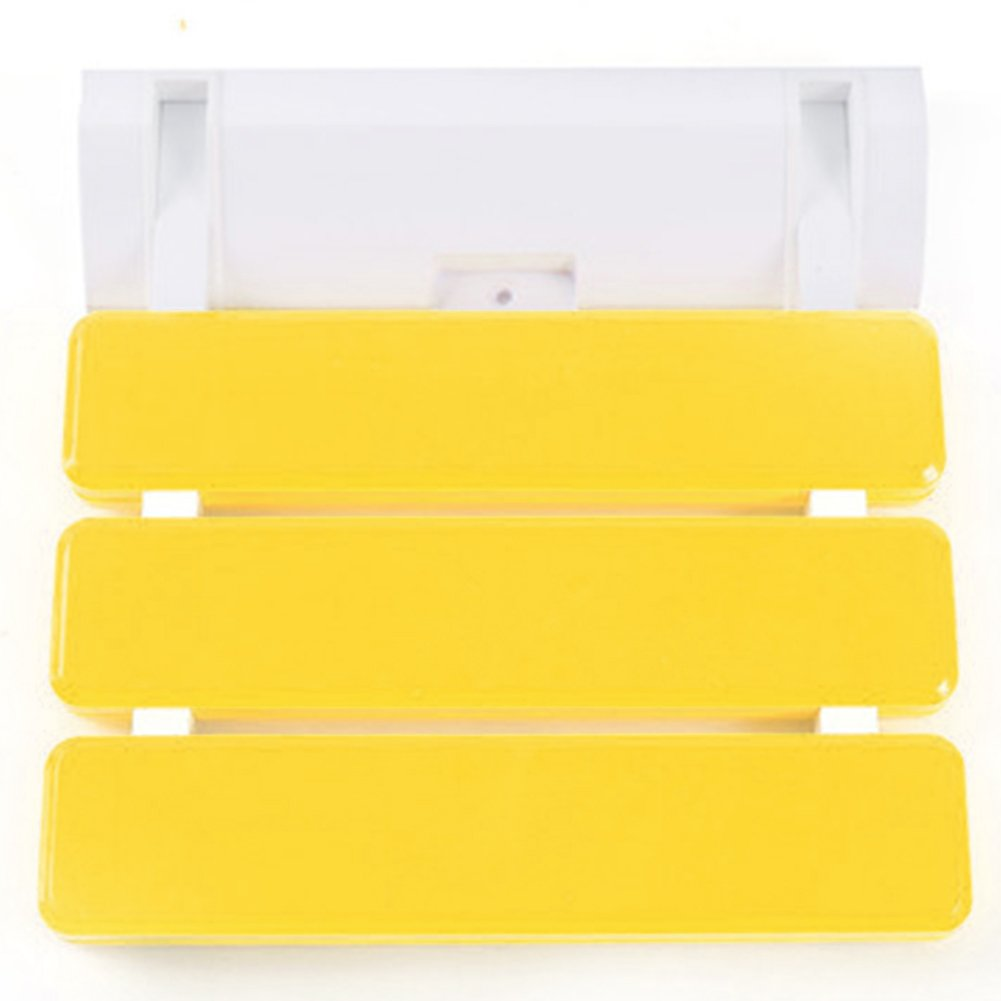 ABS Plastic Wall-mounted Folding Shower Seat Stool, Bathroom Anti-slip Safety Stool, Saving Space Elder Bath Seat Stool, For Bedroom, Balcony, Porch, Walkway, etc (Yellow)