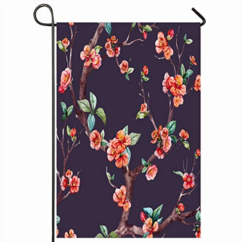 - Ahawoso Garden Flag 12x18 Inches Plant Pink Apricot Watercolor Floral Pattern Cherry Flowering Trees Apple Nature Red Blossom Branch Outdoor Decorative Seasonal Double Sided Home House Yard Sign