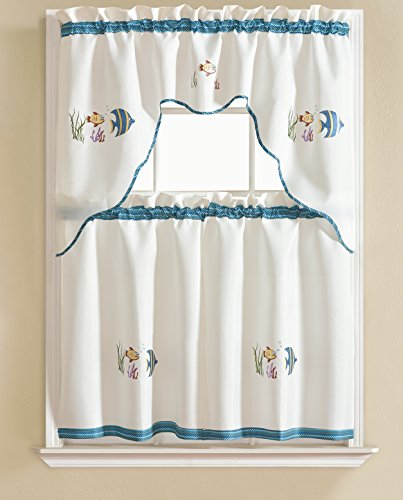 RT Designers Collection Grand Embroidered Kitchen Curtain, Fish (Valance Fish)