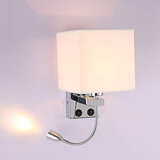Projecteur DEL Chrome Réglable Bras Flexible étude Bureau Mur Lampe de lecture