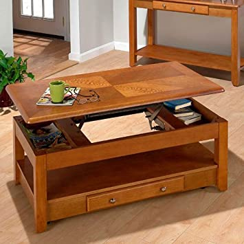Amazon.com: Jofran 480 Series Wood Lift Top Cocktail / Coffee Table In Oak:  Kitchen U0026 Dining