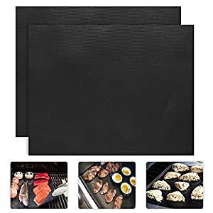 ZENQAI 2 Piece of BBQ Grill Mat Baking Mats Nonstick Reusable and Dishwasher Safe, for Electric, Gas, Charcoal from ZENQAI