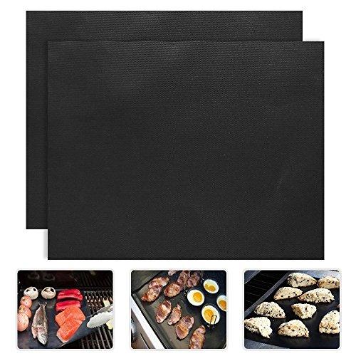 Grill Mats, VANTAKOOL 16 x 13 Inch Non-stick BBQ Grill & Baking Mats with FDA-Approved, PFOA Free, Reusable and Heat Resistant BBQ Grill Mat, Set of 2
