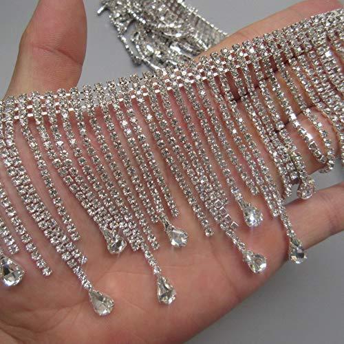 - 30cm Bling Diamante Diamond Trim Ribbon Tassel Fringe Rhinestone 7.8cm Width Chain Crystal Gem Sparkle Wedding Bridal Necklace Prom Evening Dress Applique Show Accessories Sash Belt Headwear Craft