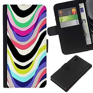 Planetar® Modelo colorido cuero carpeta tirón caso cubierta piel Holster Funda protección Para Sony Xperia Z1 / L39h / C6902 / C6903 ( Líneas Marker blanca abstracta)