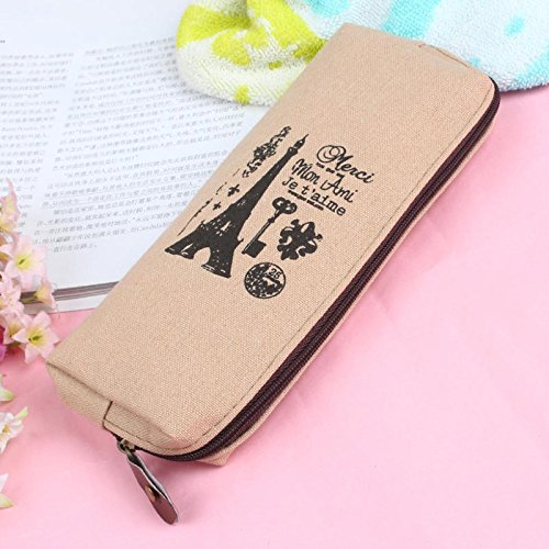 1PC Light brown tower Hot Retro Canvas Pencil Pen Case Cosmetic Makeup Coin Pouch Zipper Bag (Trina Pencil Holder)