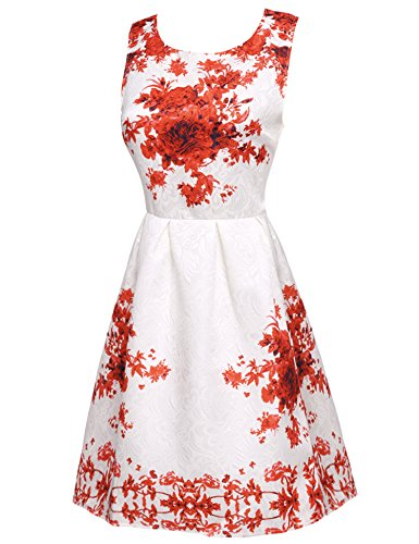 Cocktail Vintage Women's Hepburn Rockabilly Dress Inspired 50's ACEVOG Swing Red5 Audrey q5Uaxn8