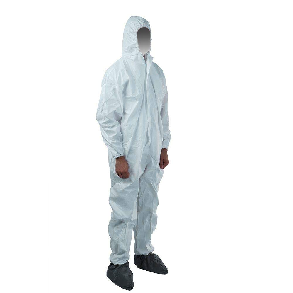 QianSou Disposable Protective Coverall with Hood, Elastic Wrist and Cuff, Hazmat Suits for Paint Garden Chemical Industrial, X-Large 5 Pack