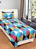 Home Elite 124 TC Cotton Single Bedsheet with 1 Pillow Cover - Geometric, Multicolour