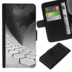 WINCASE Cuadro Funda Voltear Cuero Ranura Tarjetas TPU Carcasas Protectora Cover Case Para Samsung Galaxy A3 - ciencia minimalista blanco negro