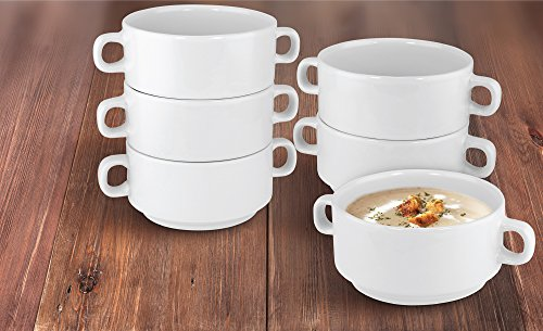 Small Handled Bowl - KOVOT Set Of 6 Porcelain Stackable 20-Ounce Bowls