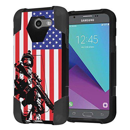 Capsule Case Compatible with Galaxy J3 Prime, J3 Emerge, J3 Luna Pro [Shockproof Combat Kickstand Case Black] for Samsung Galaxy J3 Prime, J3 Emerge, J3 Luna Pro - (Marine USA Flag)