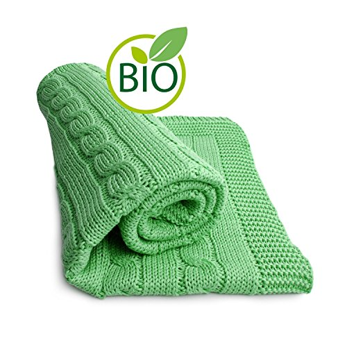 Price comparison product image SonnenStrick 100% Organic Cotton Baby Blanket (Plait) Made in Germany Green