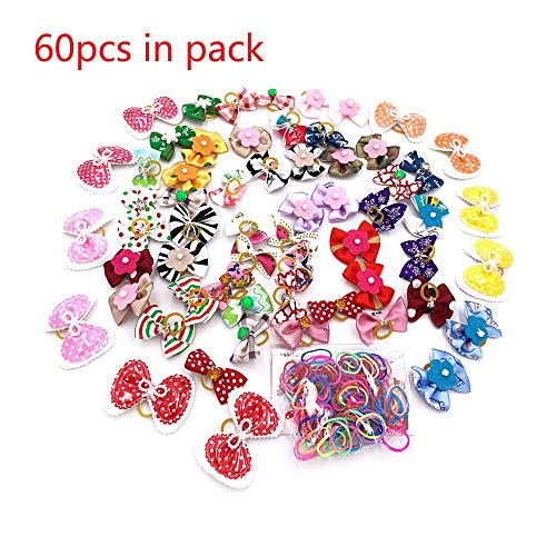 Borangs 60Pcs Dog Hair Bows and 100pcs/pack Rubber Bands Elastics for Yorkie Dog Puppy Hair with hot Mix Styles Pet Hair Bowknot Topknot Grooming (60pcs Dog Hair Bow + 100pcs/pack Rubber Bands)