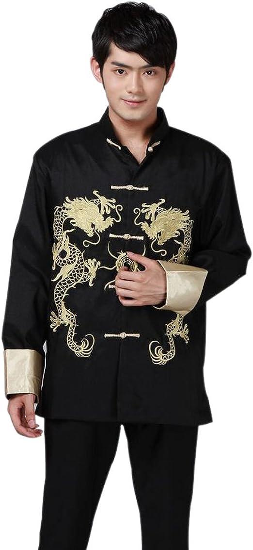 BOZEVON Traje de Tang Chino de los Hombres - Traje Tradicional Antiguo de China Artes Marciales Kung Fu Chaqueta de Manga Larga Totem Uniforme del dragón: Amazon.es: Ropa y accesorios