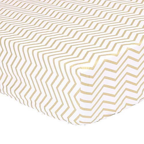 Gold Zig Zag Print 100% Cotton Sateen Fitted Crib Sheet by The Peanut Shell (Gold Fitted Crib Sheet compare prices)
