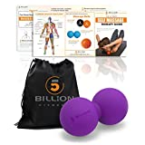 5BILLION Double Massage Ball - Therapy Peanut Ball, Stress Ball, Double Lacrosse Ball - Deep Tissue Massage Tool for Back, Foot, Neck