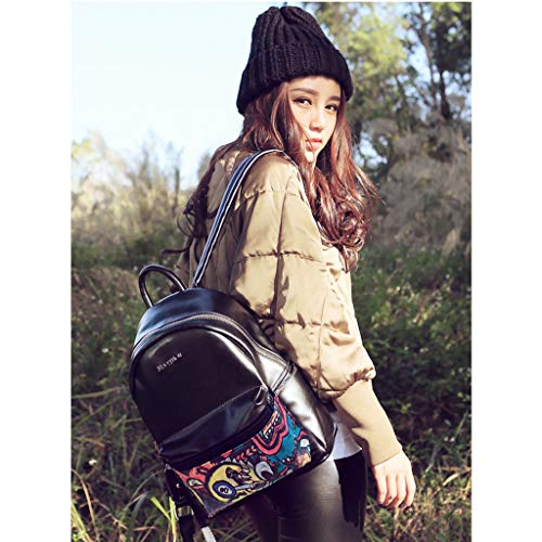 Sac Personnalité à Souple à Sac PU Ordinateur backpack éTanche Occasionnel Medium Dos Mode Noir Lady en ModèLe Cuir Sac Main 4pqvwB7S