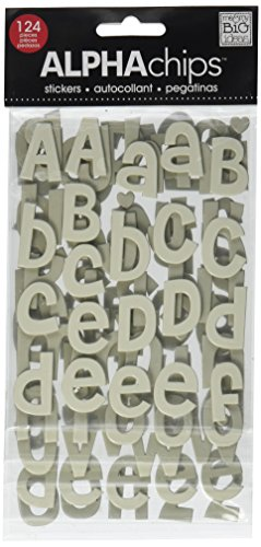 me & my BIG ideas Alpha Chips Designer Chipboard Letter Stickers, Cheri Alphabet, Neutral Ultraviolet ()