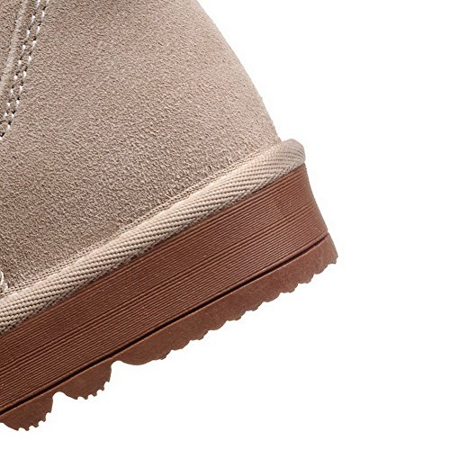 top Round Boots Closed apricot Low Frosted Heels Solid Low Women's Toe Snow AmoonyFashion 6wx188
